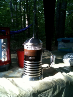 Espresso Dave's Camping Coffee, Have French press, add water 1