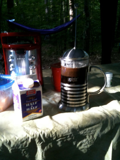 Espresso Dave's Camping Coffee, Have French press, add water 2