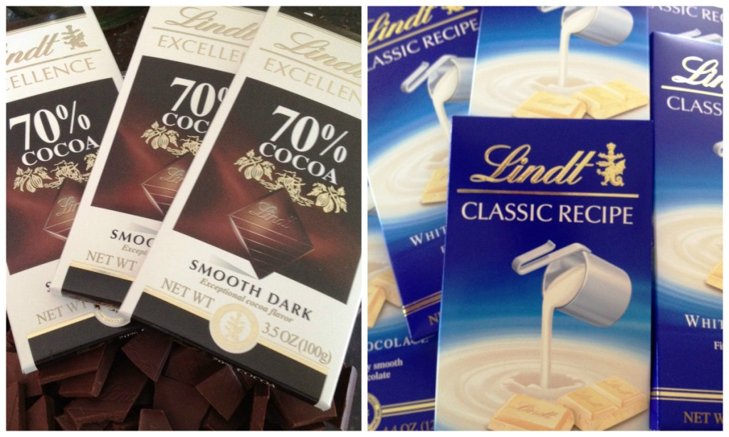 Lindt Chocolate Products White and 70 percent cocoa