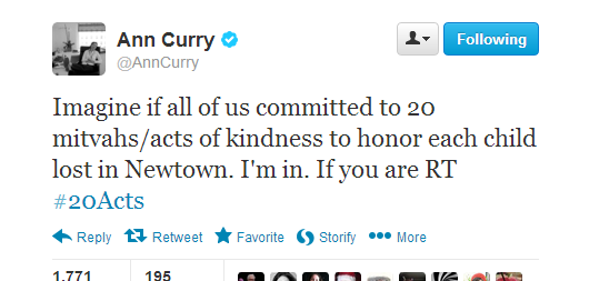 Ann Curry's inspirational tweet launching #20Acts and #26Acts of Kindness