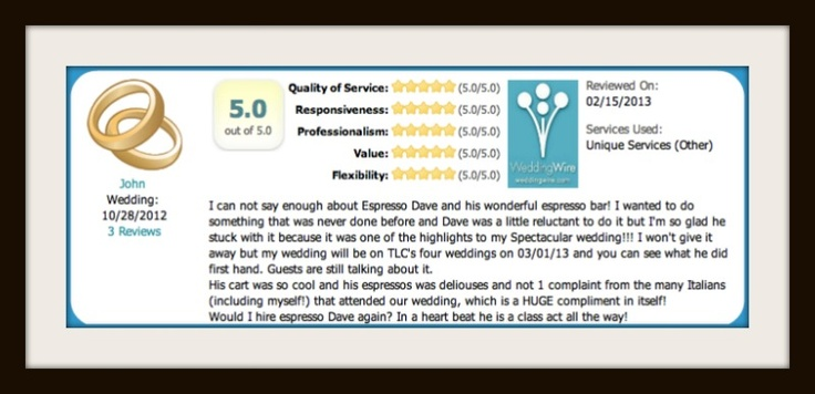 Espresso Dave's Coffee Catering 5-star rating for TLC Four Weddings Boston