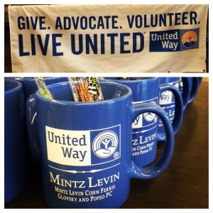Happy to filler-up with cappuccinos! Cool mugs for #unitedway event @mintzlevin. #mintzlevin #bostonevents