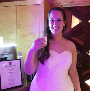 Bride Emily enjoying an espresso