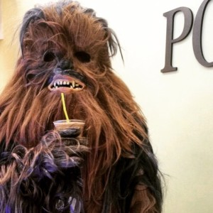 Chewy' enjoying an Espresso Dave Frozen mochaccino at a corporate event