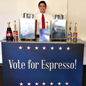Espresso Dave Coffee Cart with Vote for Espresso Signage