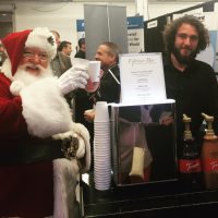 Boston Espresso DAve and Santa cappuccino