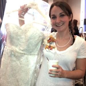 Bride-to-be at Wedding Expo enjoying an Espresso Dave cappuccino