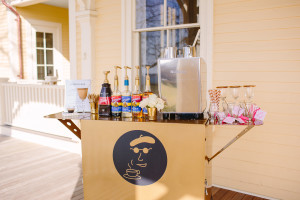 The Newport Bride's Yes Way Rose Styled Wedding Shoot with Espresso Dave golden cart