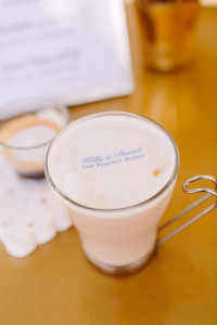 The Newport Bride's Yes Way Rose Styled Wedding Shoot with Espresso Dave's Coffee Catering personalized cappuccino Beverage Toppers PC: Sarah Pudlo Photography