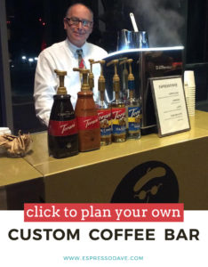 Click to Plan Your Own Custom Coffee Bar with Espresso Dave / custom coffee bars in boston massachusetts / mobile coffee cart ideas / mobile espresso bar ideas / how to have a coffee cart at your next event www.espressodave.com