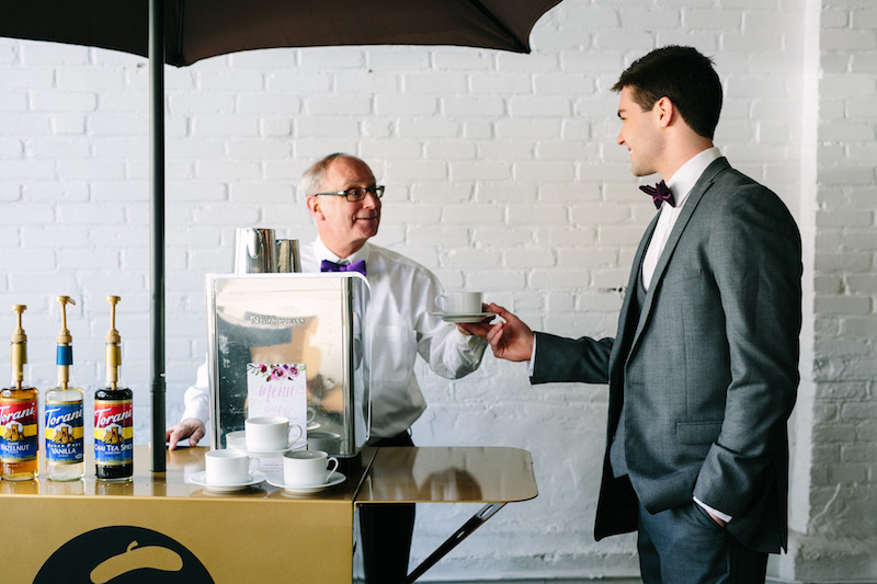 Add a Coffee Bar with Bold Color at Your Wedding Reception / 10 bold ways to wow your wedding guests as seen on Boston's Espresso Dave Coffee Catering www.espressodave.com / styling by Chancey Charm Boston / Kelly Benvenuto Photography / coffee catering boston/ wedding coffee / mobile coffee bars