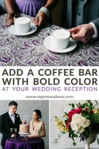 Add a Coffee Bar with Bold Color at Your Wedding Reception / Click to see 10 bold ways to wow your wedding guests from Boston's Espresso Dave Coffee Catering www.espressodave.com / Styling by Chancey Charm Boston / Kelly Benvenuto Photography / coffee catering boston/ wedding coffee / mobile coffee bars