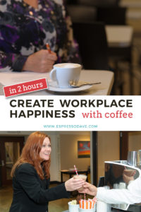 Find out how you can create workplace happiness with European-quality, coffee based drinks in just 2 hours for your employees. The portable espresso coffee bar cart from Boston's Espresso Dave will help you create a happy workplace in your break room, conference room, lobby, or cafeteria. www.espressodave.com #coffee #espresso #coffeebar #workplace #espressodave #happiness #boston