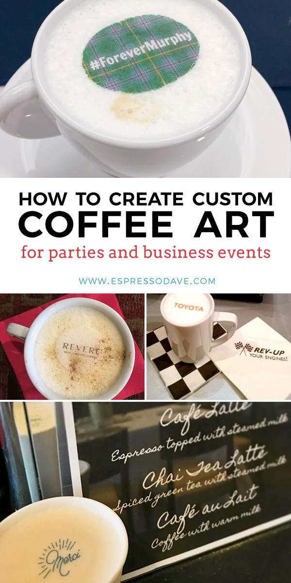 These Original Beverage Toppers® are the ultimate in party drink personalization and it only takes seconds to create! Edible Original Beverage Toppers® can be used to brand your coffee drinks with your company logo, wedding monogram, hashtag, or party-themed image of your choosing. To order, click on the pin! www.espressodave.com #partydrinks #coffeedrinks #smoothies #beverages #weddingdecorations