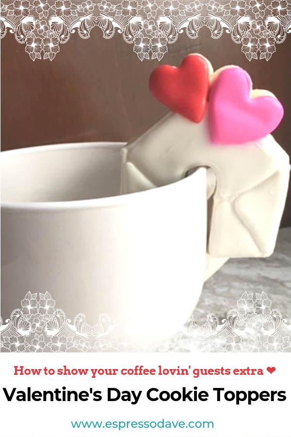 Take it from Cupid, your coffee loving guests will adore these red hot cookie toppers with a Valentine's Day coffee bar. Click here to read about Boston's Espresso Dave's Coffee Catering suggestions to serve with a coffee bar. www.espressodave.com Cookie Toppers by The Baker's Rack. #ValentinesDay #Valentines #coffeebar #Boston #valentinesdaytreats #galentines #galentinesday