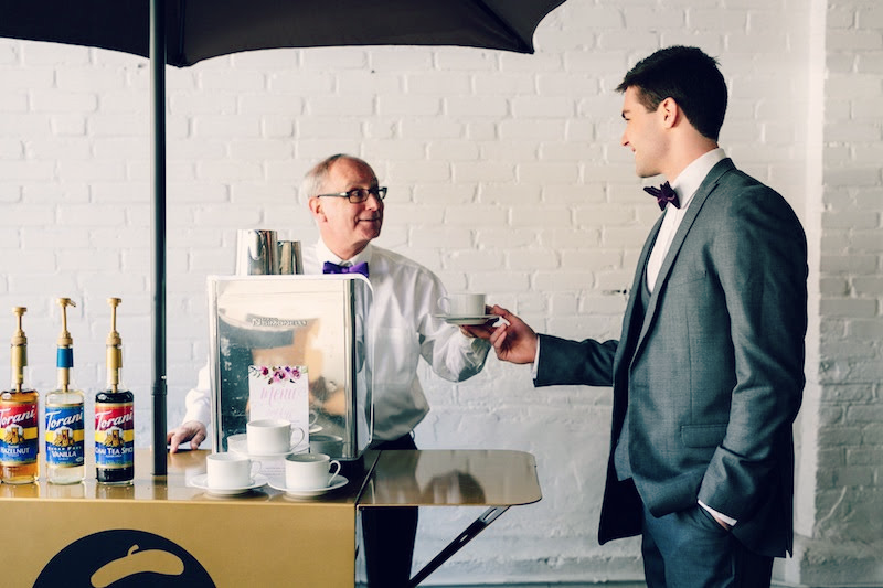 Boston's premiere coffee caterer, Espresso Dave, shares 5 reasons why you should hire a service to set up an espresso bar at your wedding reception! Click here for info! PC: Kelly Benvenuto Photography www.espressodave.com #wedding #coffeecatering #espressocatering #boston #bostonweddings #weddingideas #weddingdrinks #espressobar