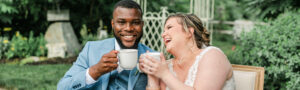 Happy Newlyweds enjoying lattes by Espresso Dave Coffee Catering PC Rachel Campbell Photog.