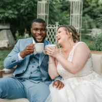 Bridal Couple Enjoying Espresso Dave Coffee Rachel Campbell Photography